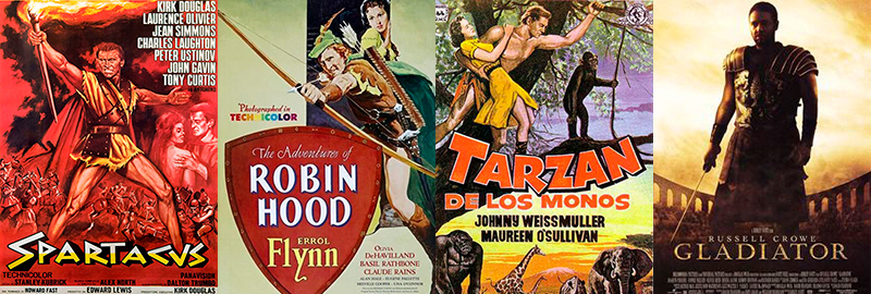 "The films ""Spartacus"" (1960), ""Robin Hood"" (1938), ""Tarzan"" (1932) and ""Gladiator"" (2000), with lead characters that respond to the ""virile archetype""."